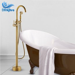 antique bronze mixer Canada - Floor Stand Bathtub Faucets with Hand Shower Antique Black Bronze Bathroom Floor Standing Bath Faucet Single Handle Mixer Tap