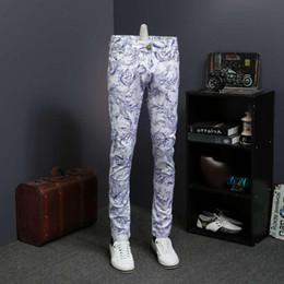 Wholesale floral printed skinny jeans for sale - Group buy Floral Print Denim Mens Casual Vaqueros Hombre Skinny Erkek Jean Pantolon Calca Jeans Masculina
