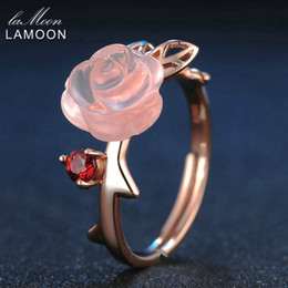 $enCountryForm.capitalKeyWord Australia - Lamoon Rose Flower 9mm 100% Natural Pink Rose Quartz Adjustable Ring 925 Sterling Silver Jewelry For Women Wedding Lmri025 J190611
