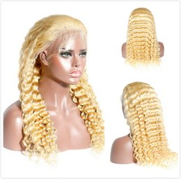 Glueless Wig Braids For Australia - #613 Blonde Full Lace Wig 150% Density Curly Human Hair Braided Wigs For Black Women Honey Blonde Peruvian Deep Wave Glueless Lace Front Wig