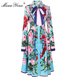 collared mid calf dress UK - MoaaYina 2018 Fashion Designer Runway Dress Spring Women Long sleeve Ribbon Rose Letter Heart Floral Print Casual Elegant Dress T5190615