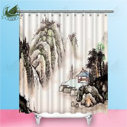 Wholesale Vixm Chinese Landscape Watercolor Landscape Painting Shower Curtains Waterproof Polyester Fabric Curtains For Home Decor