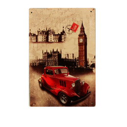 metal wall art plaques Canada - HD Car Vintage Metal Tin Painting Decorative Building Plates Plaque ART Poster Wall Sticker For Garage Bar Pub Home Decor Signs SH190918