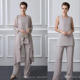 Wholesale Cheap New Mother of bride Suits Three Pieces With Jacket Plus Size Silver Chiffon Jewel Neck Long Sleeves Wedding Guest Dress Mothers Dress