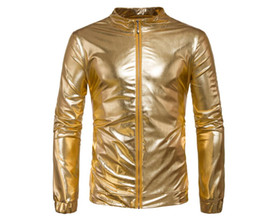 Gold Motorcycle Jacket Australia - mens leather jacket Glossy motorcycle leather coat men jackets clothes personalized jaqueta de couro street fashion gold silver