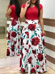 Discount valentine one wholesale - Flower Print Dress Short Sleeve Dress Round Neck Dresses Fashion Women One Piece Dresses Valentine Day Gift Drop Shippin