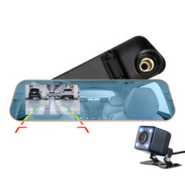 "motion detection mirror camera UK - 4.3"" 1080P full HD car DVR camera vehicle registrator mirror car driving data recorder mirror 2Ch 140° view angle G-sensor parking monitor"