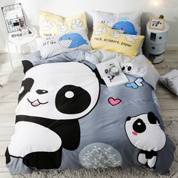 bear sheets sets 2019 - 3pcs 100% cotton panda bedding set single size panda bear bedding duvet cover set bed sheet quilt cover pillowcase 5z ch