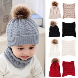 wholesaler baby suits Australia - 2pcs set Fashion Newborn Baby Hats Knitted Warm Round Machine Cap Protects Ear Bonnet Baby Kids Winter Caps With Scarf Suits
