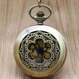 Unique Wholesale Analog Watches Australia - Unique Flower Pocket Watch Chains Hollow Engraved Pocket Watches Steampunk for Men Women Gifts TD2142