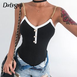 body strap sexy NZ - Darlingaga Spaghetti Strap chain summer bodysuit sexy body pearls fashion backless party women's bodysuits jumpsuit romper short