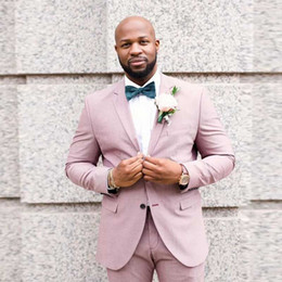 Groom Pants Coat Australia - Groom Tuxedo Men Wedding Suits Pants Pink Linen Casual Best Man Blazer Custom Made Groomsmen Jacket 2 Piece(Coat+Pants)Terno Masculino