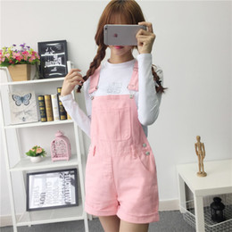 Lovely Jumpsuits Australia - Denim Overalls Women Summer Lovely Jumpsuits 2019 Spring Denim Jeans Overalls Shorts Pink white black Overall Jumpsuit Y19051601