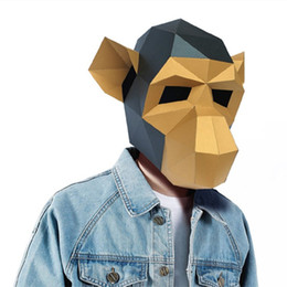 $enCountryForm.capitalKeyWord Australia - Monkey 3D Puzzle Paper Stereo Animal Mask Cartoon DIY Dance Party Christmas Gifts Toys Headgear Model Props Halloween Cosply Costumes