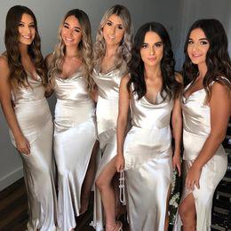 Ivory damas dresses online shopping - Cheap Sexy Spaghetti Mermaid Bridesmaid Dresses Side Split Maid of Honor Dress Evening Gowns vestidos de damas de honor