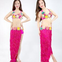 $enCountryForm.capitalKeyWord Australia - High Quality Women Bohemia Belly Dance Costume Tassels Flower Modern Dancer Stage Performance Clothes Bra and Skirt Set