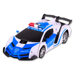 Wholesale RC Car Transformation Robots Sports Vehicle Model Robots PoliceCar Toys Cool Deformation Car Kids Toys Gifts For Boys