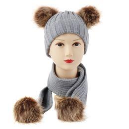 $enCountryForm.capitalKeyWord Australia - Amazon European Baby Double Ball Wool Hats Knitting Hat Super Imitate Raccoon Mao Dongji Scarf Suit