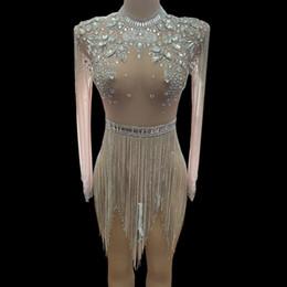 $enCountryForm.capitalKeyWord Australia - Shining Big Crystals Mesh Sexy Bodysuit Sparkly Rhinestone Fringes Party Nightclub Outfit Singer Stage Performance Dance Costume