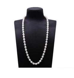 163ddc3f156e ENVÍO GRATIS 10-11 mm de arroz blanco con forma de collar de perlas de agua  dulce