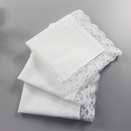 White Cotton Napkins Australia - White Lace Thin Handkerchief Woman Wedding Gifts Party Decoration Cloth Napkins Plain Blank DIY Handkerchief 23*25cm YD0122