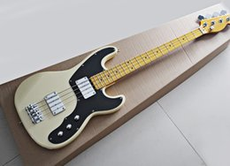 ElEctric guitar shipping box online shopping - Strings Electric Bass Guitar with Big Iron Box Pickups Black Pickguard Yellow Maple Fretboard offering customized services