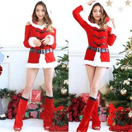 Discount santa fur - Christmas Dress Women Christmas Costume For Adult Red Velvet Fur Dresses Sexy Female cosplay Santa Claus Hooded costume