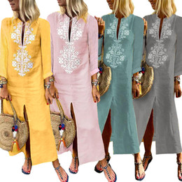 $enCountryForm.capitalKeyWord NZ - Flora printed long-sleeved women's dress print autumn and winter long cotton and linen clothes clothing ankle length split V neck male wear