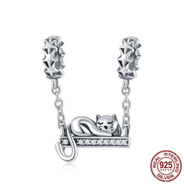 1ccaf8b92 Pandora Cat Charms Australia - Pure 925 Sterling Silver Adorable Cat Star  Charms Star Pave Charm