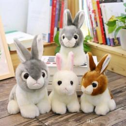 Wholesale Toy Monkeys Australia - 11 inch 28cm Cute Rabbit Stuffed Animal Toys Kids Soft Plush Toys White   Brown   Gray Free Shipping