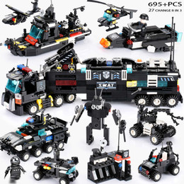 block brick police Canada - 695PCS LegoINGs SWAT City Police Truck Building Blocks Sets Ship Helicopter Vehicle Creator Bricks Playmobiled Toys for Children