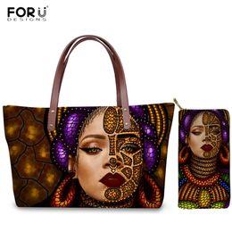 $enCountryForm.capitalKeyWord Australia - FORUDESIGNS Colorful African Queen Girl Face Print Handbag 2pcs set Luxury Women Bag Purses Art Exotic Ethnic Style Shoulder Bag