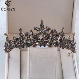 Discount hair styles for weddings - CC wedding jewelry crown tiara hairbands vintage baroque style engagement hair accessories for bridal black cz stone fin