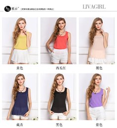 $enCountryForm.capitalKeyWord Australia - spring summer women's tank tops ,candy colour round neck loose t shirt ladies camisole chiffon slim ladies tin vest