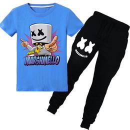 $enCountryForm.capitalKeyWord Australia - New Marshmello Dj Mask Boys Pure Cotton T Shirt Sets Kids Summer Clothes Children Fortinet T Shirt + Pants Girls Tops Tees 6-14y Y19051003