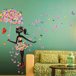 Stickers Girls Bedrooms Australia - [SHIJUEHEZI] Fairy Girl Wall Stickers Vinyl DIY Flower Elf Nice Umbrella Mural Decals for Kids Room Baby Bedroom Decoration