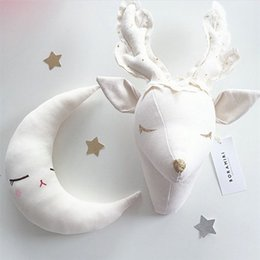 big heads toys UK - Baby Girl Room Decoration Stuffed Toys Animal Elephant Head Wall Hanging Decor For Girl Nursery Children Bedroom Decoration Gift