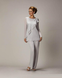 Hand Made Suits Australia - Newest Mother of the Bride Pant Suits Chiifon Wedding Guest Gowns Long Sleeve Formal Evening Party Dress Custom Made Plus Size
