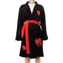 Wholesale naruto itachi uchiha cosplay costume for sale - Group buy Classic Anime Naruto Uchiha Itachi Costumes Cosplay coral velvet Bathrobe pajamas Leisure wear Fit party European size T200116