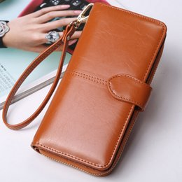 $enCountryForm.capitalKeyWord UK - Clutch bag Fashion Wallet Split Leather Wallet Female Long Wallet Women Zipper Purse Strap Coin Purse For iPhone 7Plus