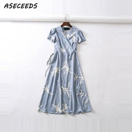 korean fashion party short dress Canada - Summer flower dot print wrap women short sleeve chiffon beach korean fashion work vestidos v neck party midi dress Q190425
