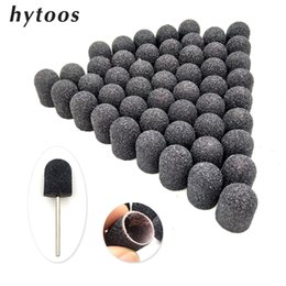 black blocks Australia - Tools Nail Drill Accessories Bits 50Pcs 13*19mm Black Textile Sanding Caps With Grip Pedicure Care Polishing Sand Block Nail Drill Access...