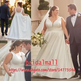 $enCountryForm.capitalKeyWord Australia - Sexy V Neck Plus size Wedding Dresses With Pockets Elegant Ivory Stain Pregnant Bridal Dress Custom A Line Wedding Gowns Robe de mariée