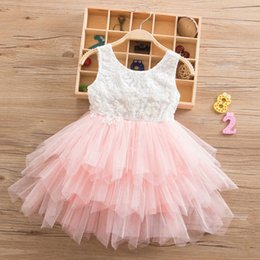 red white blue tutus Canada - Summer Beading Girl Dress 2019 White Backless Girls Teenage Princess Irregular Tutu 2-6Years Pink Children Dresses XF105