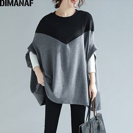 $enCountryForm.capitalKeyWord Australia - Dimanaf Plus Size T-shirts Women Knitted Basic Tops Tees Casual Large Loose Female Tshirts Batwing Patchwork Black Clothes 5xl J190513