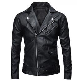 Jacket Motorcycle Australia - New Fashion Men's PU Leather Jacket Autumn Winter Slim Fit Motorcycle Jacket Zipper Casual Leather Coat Male Outerwear Clothing