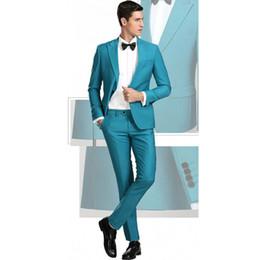 $enCountryForm.capitalKeyWord Australia - Teal Designer Mens Prom Suits Peaked Lapel Wedding Suits For Men Long Sleeves Groomsman Tuxedos Two Pieces Blazers Jacket+Pants
