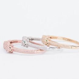 China Designer Jewelry Luxury Leopard Head Bracelets Woman Diamond Animal Bangle Charms Wedding Engagement Fine Jewelry cheap women silver ring bracelet set suppliers