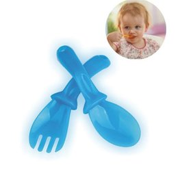 learning for infants UK - New 4 Pairs Infant Baby Feeding Spoon Fork Set High Quality PP Baby Spoon Flatware Lovely Gifts For Baby Kids Learning Tableware