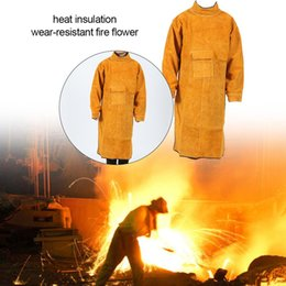 Leather Apron Cowhide Piece Welding Apron Double-sided Wearable Insulation Wear-resistant Spark-proofApron on Sale
